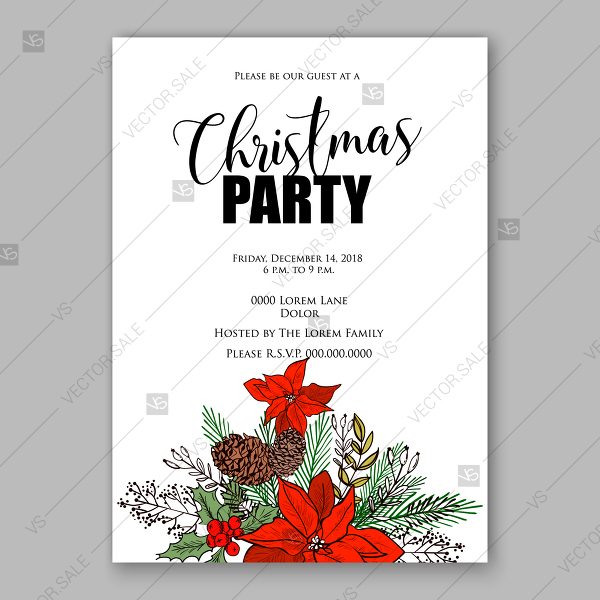 600x600 Christmas Invitation Template Winter Floral Background Red