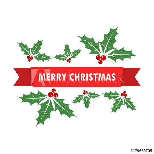 500x500 Christmas Background With Holly Berry Leaves. Vector Illustration