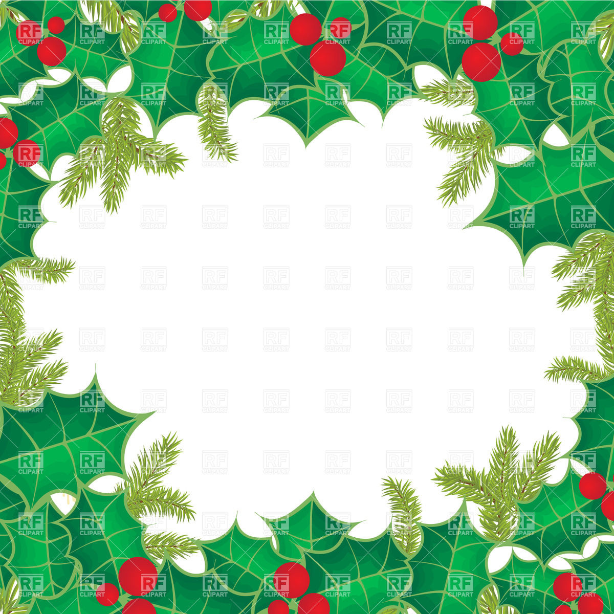 1200x1200 Christmas Frame Of Holly Berry Leaves Vector Image Vector