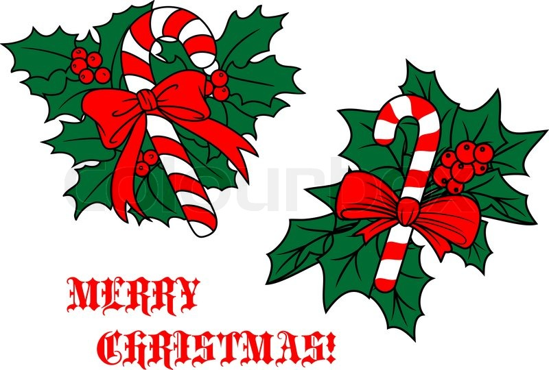 800x540 Candy Cane With Ribbon On Christmas Leaves With Red Holly Berries
