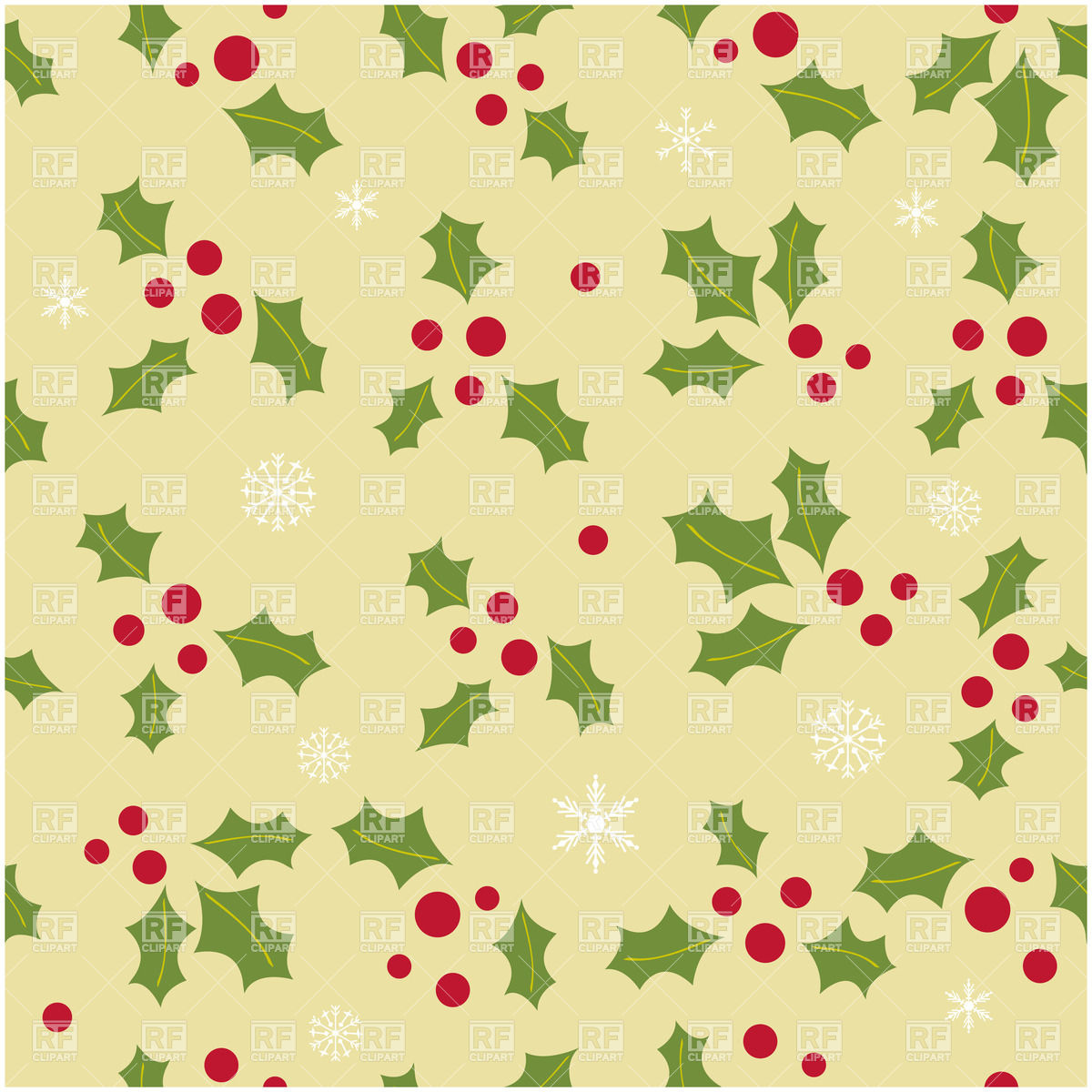 1200x1200 Seamless Christmas Background With Simple Holly Berry Leaves