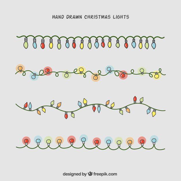 626x626 Hand Drawn Christmas Lights Collection Free Vector Christmas