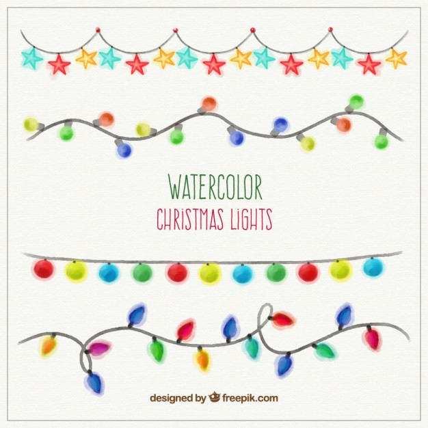 626x626 Watercolor Christmas Lights Vector Free Download