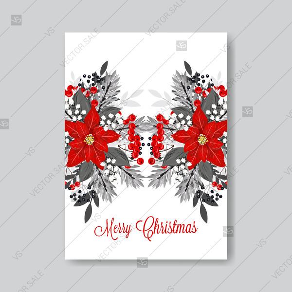 600x600 Poinsettia Fir Pine Merry Christmas Party Vector Flyer Invitation