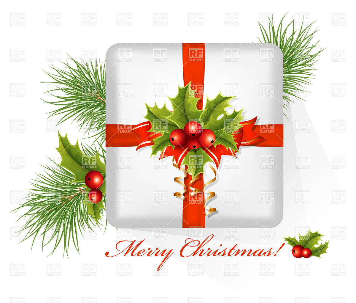 1200x1019 Present Box With Christmas Holly Vector Image Vector Artwork Of
