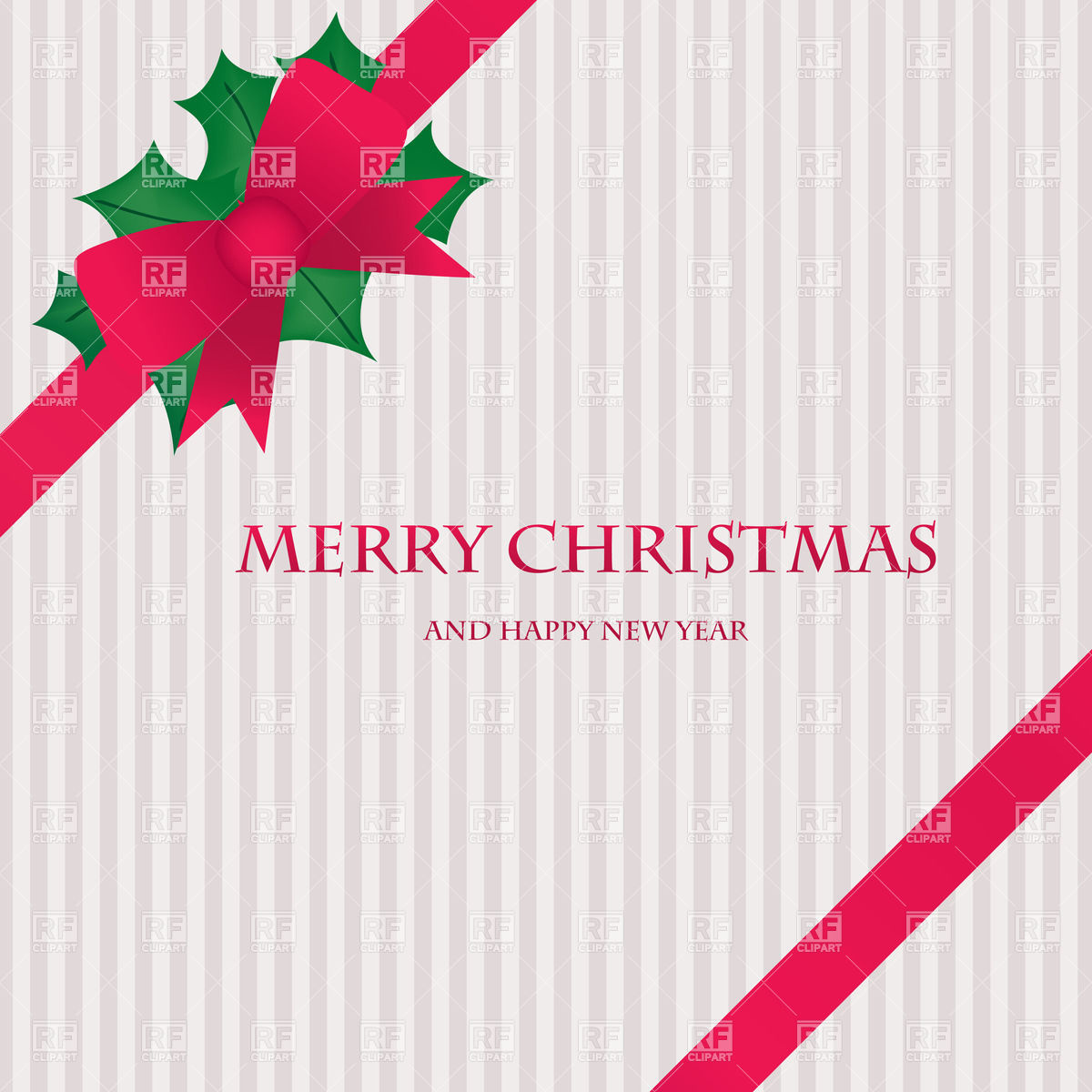 1200x1200 Christmas Stripy Card With Holly Leaves And Red Corner Ribbon