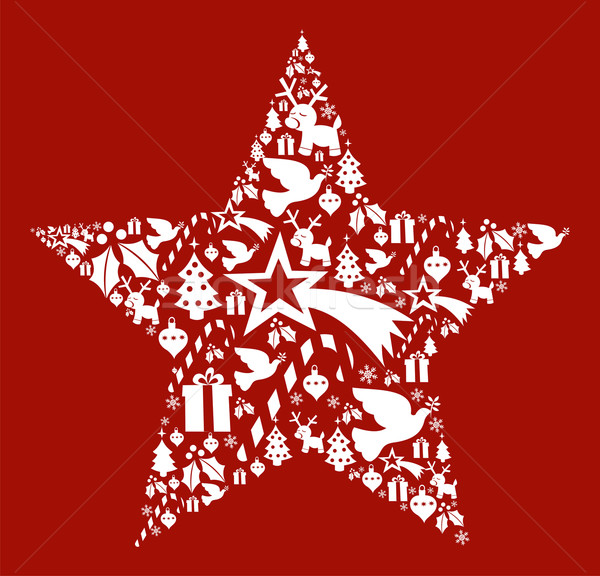 600x576 Christmas Icon Set In Star Shape Vector Illustration Cienpies