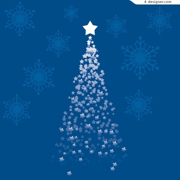 600x600 4 Designer 2 Star Christmas Tree Vector Materials