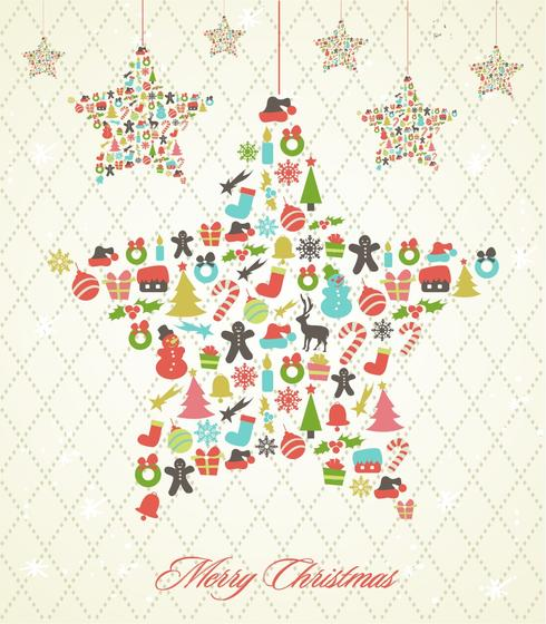 490x560 Retro Hanging Christmas Star Vector Background