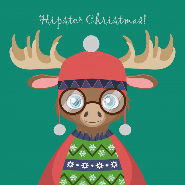 626x626 Cute Hipster Moose With An Ugly Christmas Sweater Vector Premium