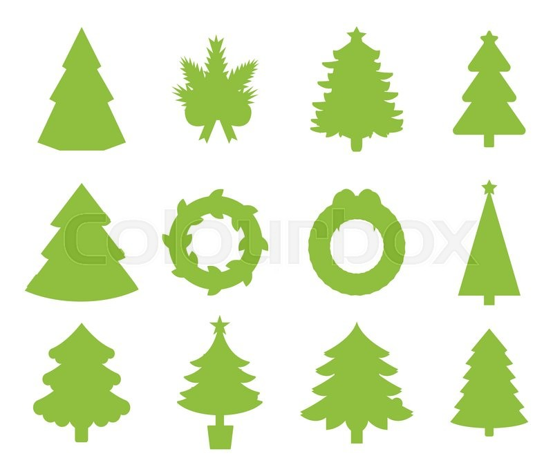 800x689 Christmas Tree Icons Set. Christmas Tree Vector. New Year Tree