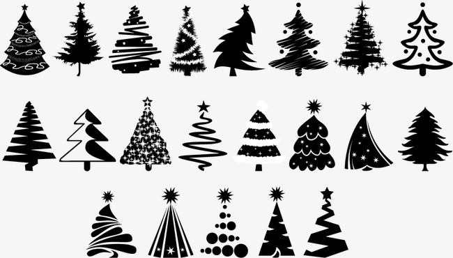 650x370 Vector Black Silhouettes Christmas Tree, Tree Clipart, Christmas