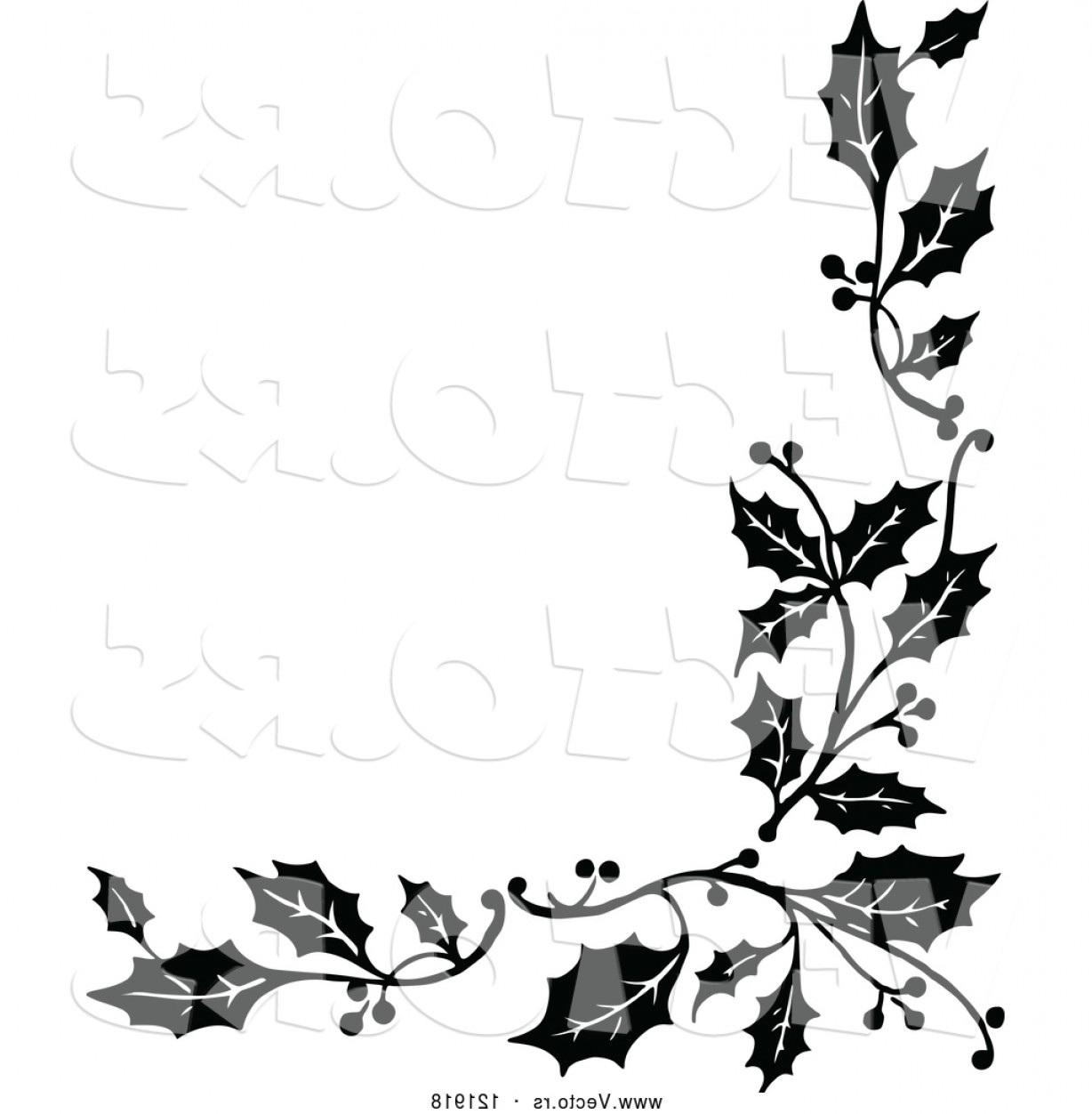 1228x1252 Vector Of Vintage Black And White Corner Border Of Christmas Holly