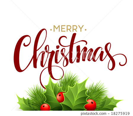 450x393 Merry Christmas Lettering Card With Holly. Vector
