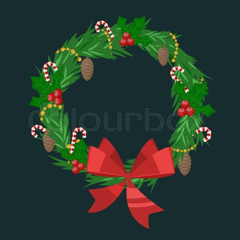 800x800 Christmas Tree Wreath Flat Vector Isolated On Dark. Christmas Tree
