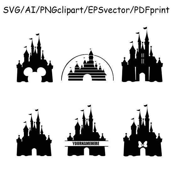 570x570 Disney Castle Svg Disney Castle Silhouette Clipart Dxf Vector