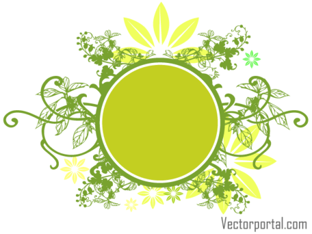 456x342 Free Vector Green Floral Circle Banner Design Clipart And Vector