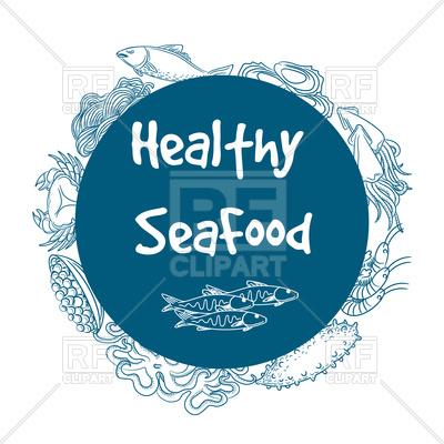 400x400 Healthy Seafood Circle Banner Vector Image Vector Artwork Of