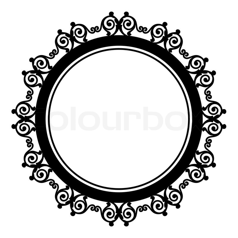 800x800 Circle Baroque Border With Leafs.victorian Frame. Stock Vector