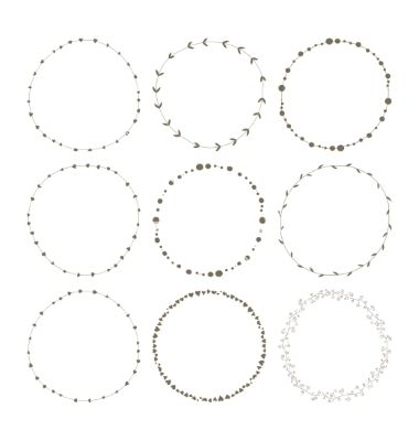 380x400 Free Vector Set Of 9 Circle Cute Hand Drawn Frames Vector