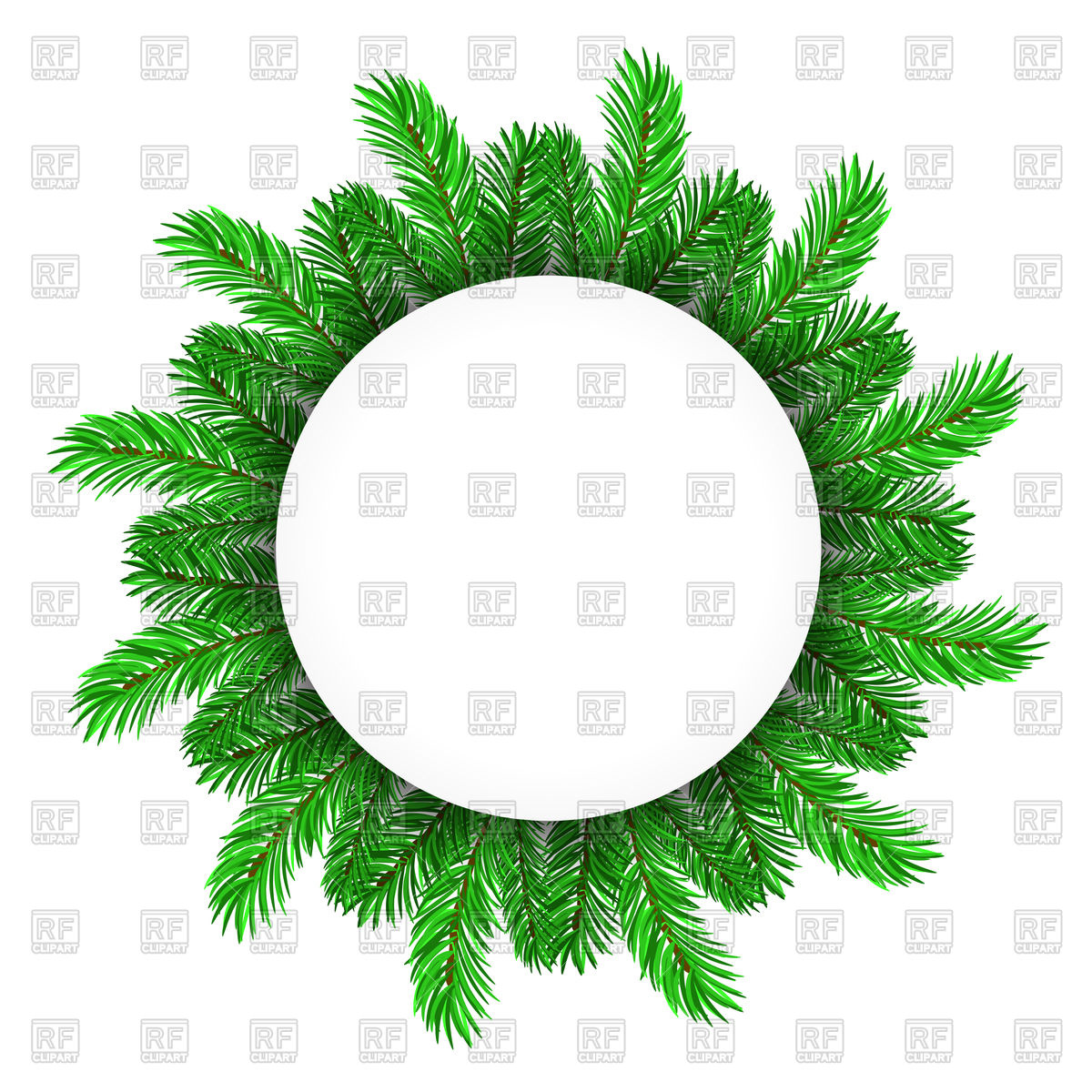 1200x1200 Green Fir Tree Circle Frame Vector Image Vector Artwork Of