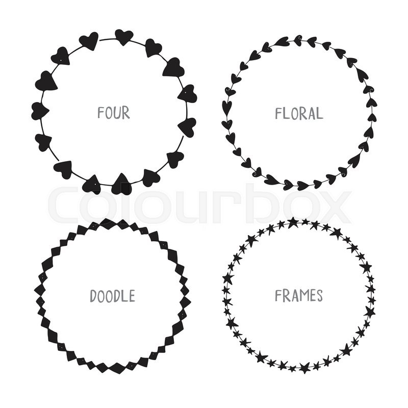 800x800 Hand Drawn Circle Doodle Floral Frames. Vector Simple Wreath