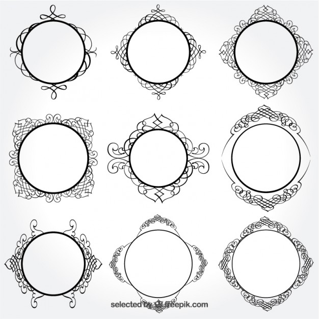 626x626 Retro Round Frames Vector Free Download