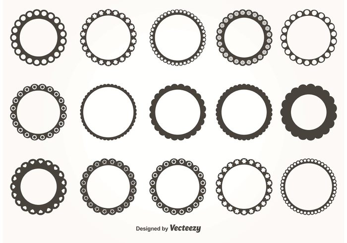 700x490 Round Scalloped Vector Frames