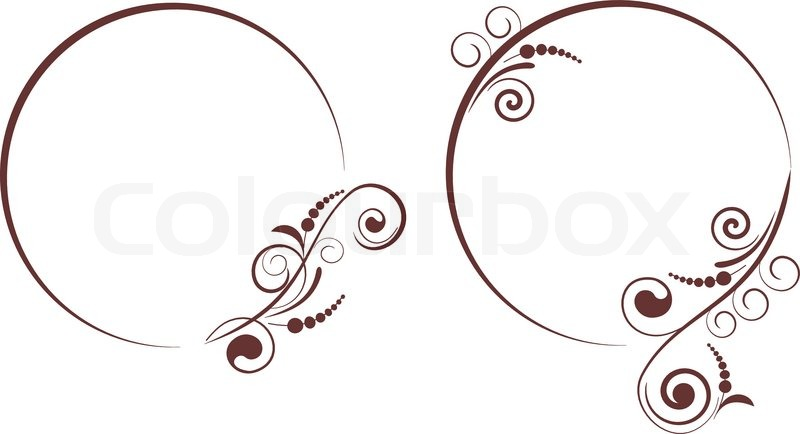 800x434 Round Frame With Decorative Branch. Vector Illustration. Stock