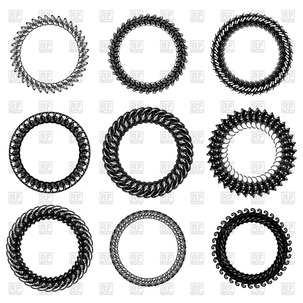 1200x1200 Set Of Decorative Circle Frames Vector Image Vector Artwork Of