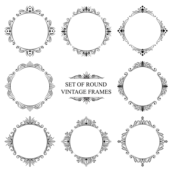 600x600 Set Of Round Vintage Frame Vector Free Download