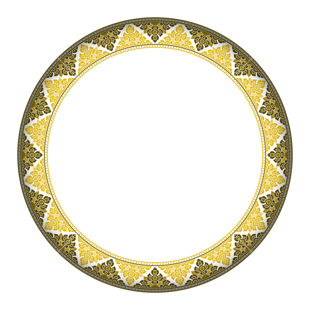 1000x1000 Thai Style Complex Circle Frame. Vector Circle Frame Can Be Used