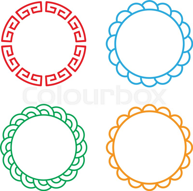 800x792 Classic Chinese Circle Window And Photo Frame, Vector Stock