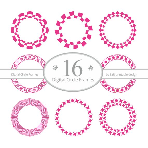 570x570 Digital Round Frames Digital Circle Frame Vector Frames Etsy