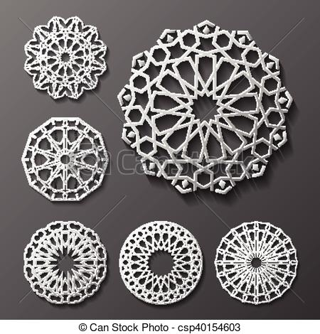 450x470 Islamic Ornament Vector , Persian Motiff . 3d Ramadan Round
