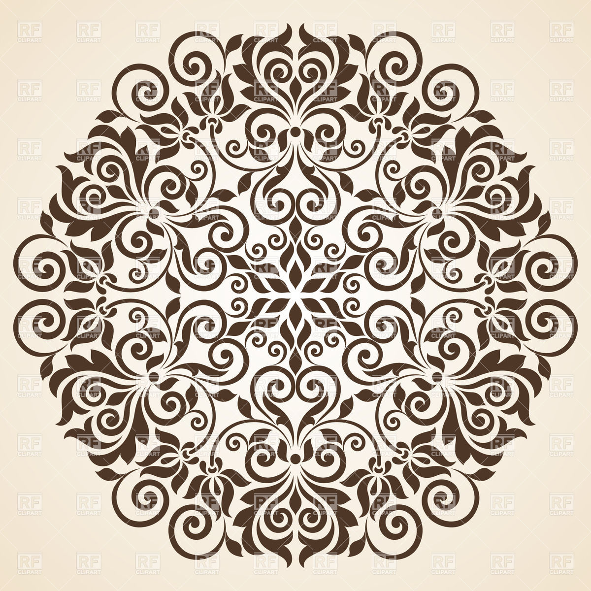 1200x1200 Round Floral Curly Ornament Vector Image Vector Artwork Of