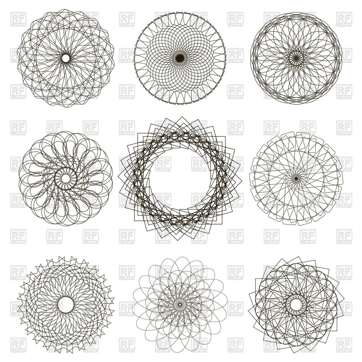 1200x1200 Set Of Circle Geometric Ornaments Vector Image Vector Artwork Of