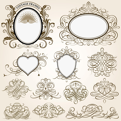 500x500 Vintage Frames With Calligraphic Ornaments Vector 01 Free Download