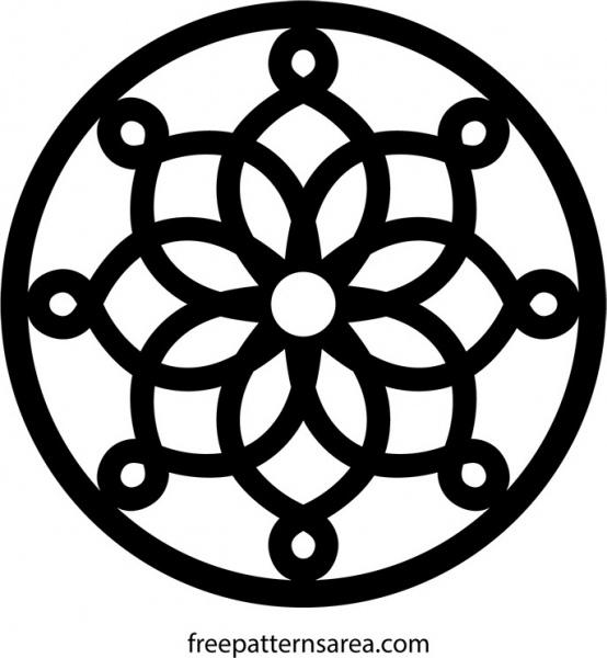 554x600 Circle Geometric Trivet Ornament Vector Pattern Free Vector In