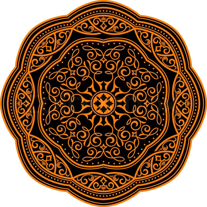 800x800 Circle Ornament In Medieval Style For Decorate Plates Or Another