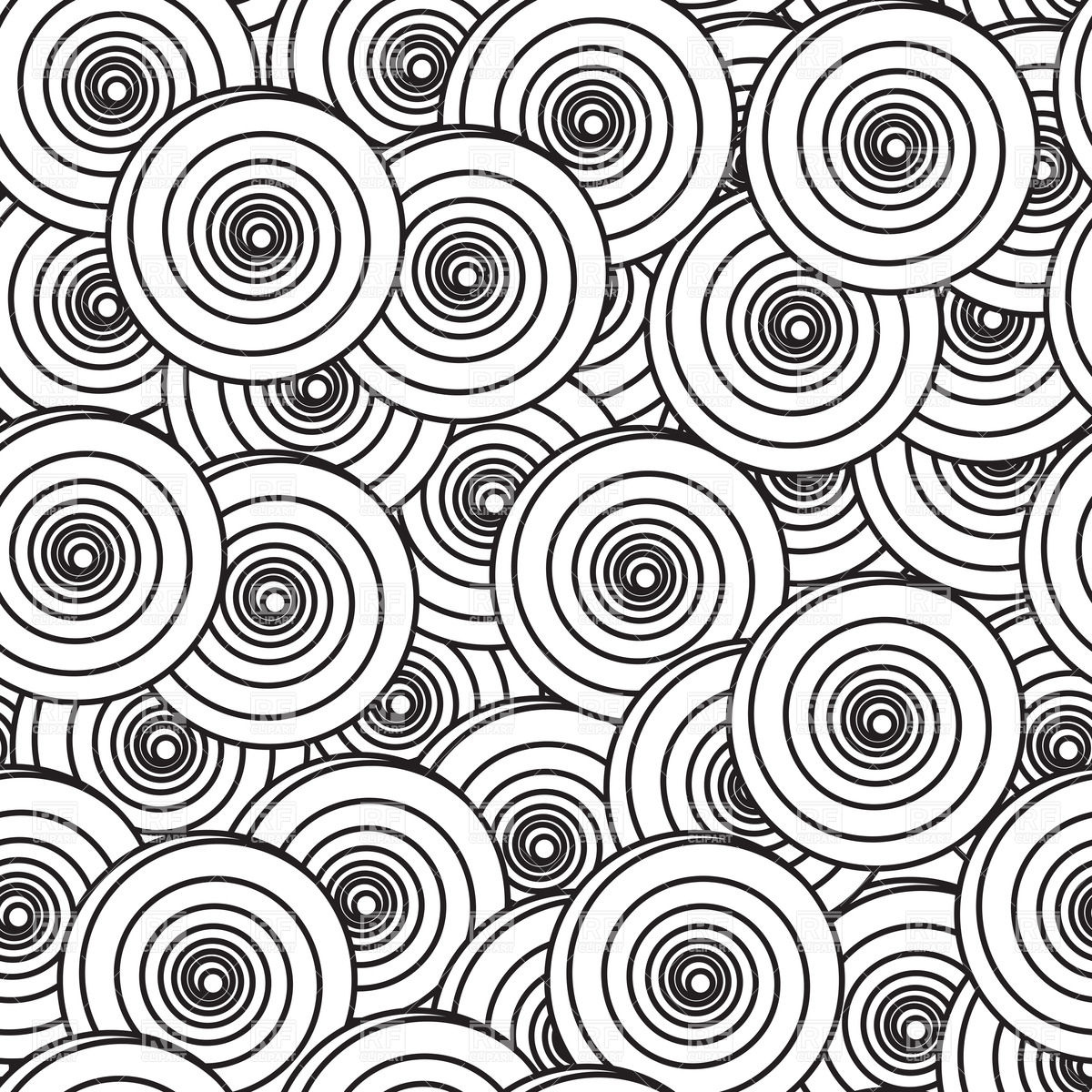 1200x1200 Black And White Background With Spiral Circles Vector Image