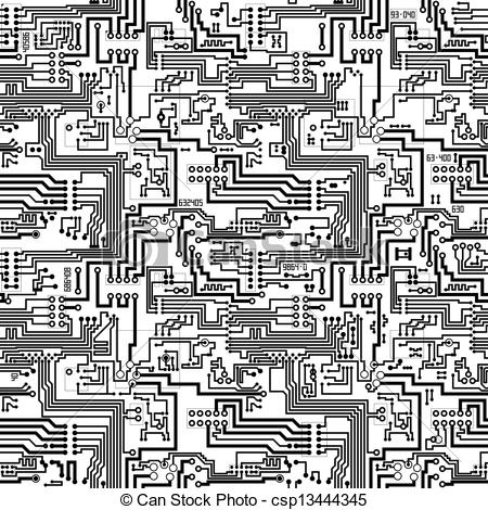 450x470 Circuit Board Vector Seamless Technological Pattern. Circuit Board