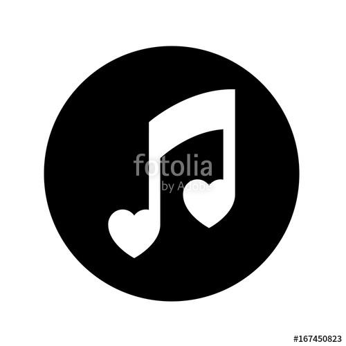 500x500 Icono Plano Nota Musical Corazones Blanco En Circulo Negro Stock