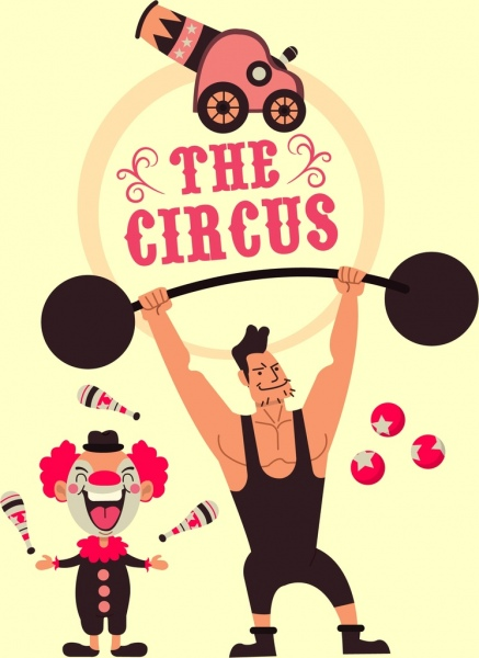 437x600 Circus Banner Athlete Clown Performance Icons Cartoon Design Free