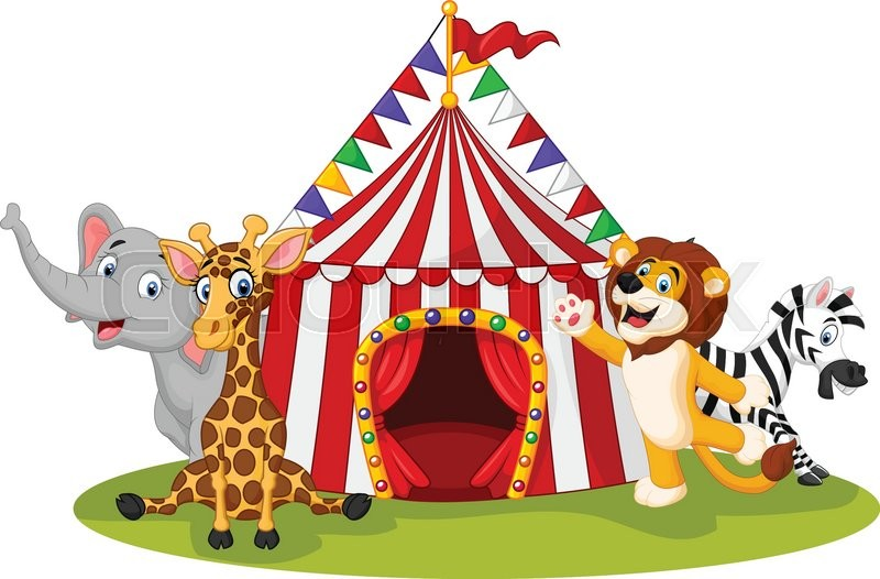 800x526 Vector Illustration Of Cartoon Animal Circus With Circus Tent