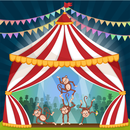 500x501 Cartoon Circus Tent And Animals Design Vector 07 Free Download