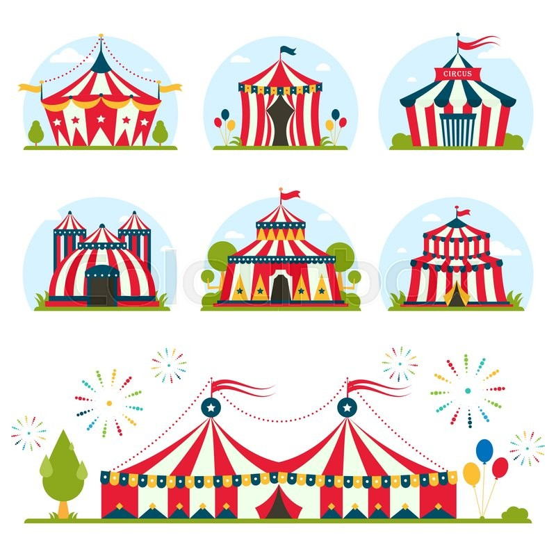 800x800 Cartoon Circus Tent With Stripes And Flags Carnival Entertainment