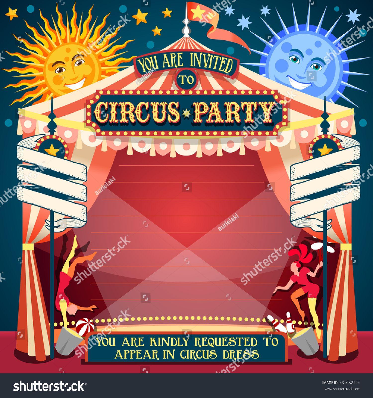 1500x1600 Carnival Circus Tent Invite Fair Template Theme Circus Vector