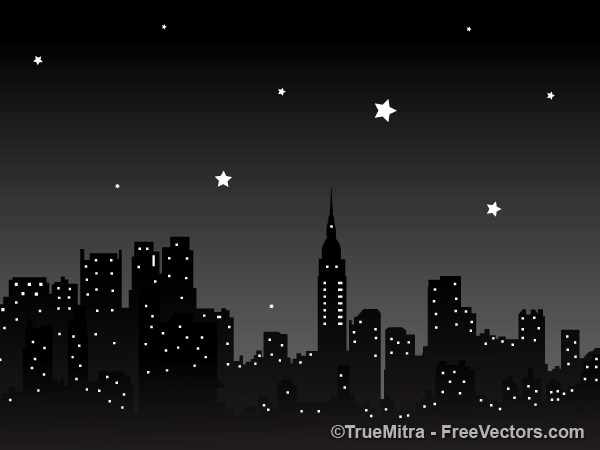600x450 Download Free Night City Background Vector Illustration