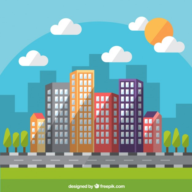626x626 Flat Daytime Modern City Background Vector Free Download